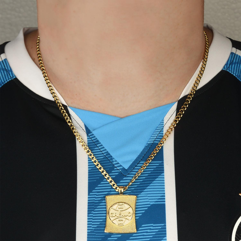 Colar Masculino Folheado Ouro 18k Pingente Brasão Grêmio