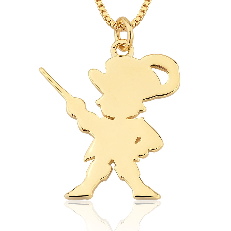Colar Unissex Folheado Ouro 18K Pingente Mosqueteiro