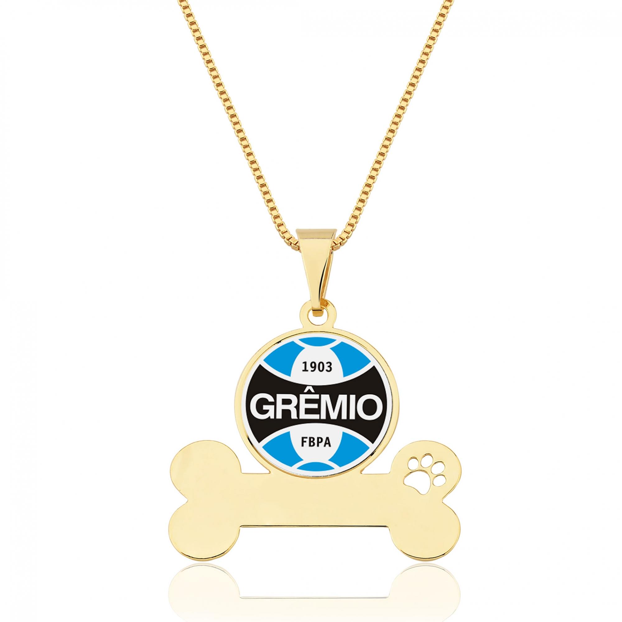 Colar Pet Meu Grêmio Folheado Ouro18k