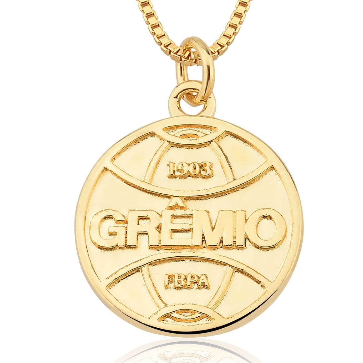 Colar  Unissex  Folheado Ouro 18k  Pingente Brasão Grêmio