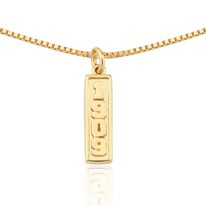 Colar Unissex Folheado Ouro 18k Pingente 1909