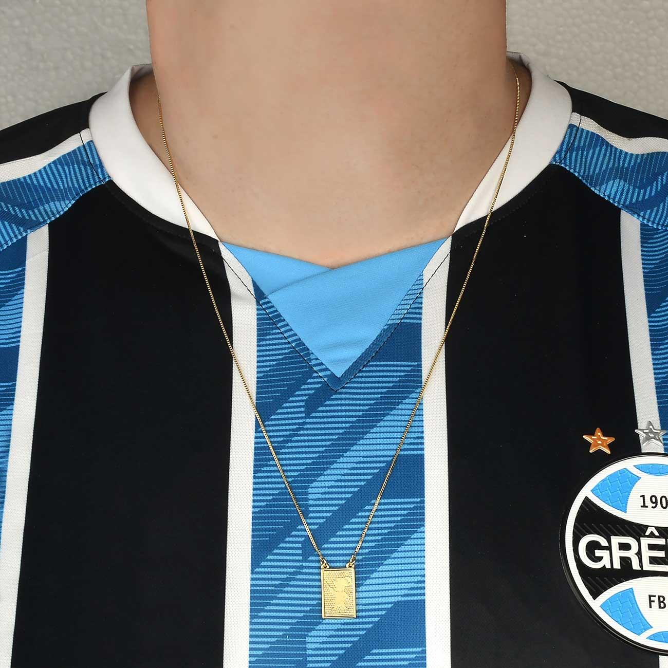 Escapulário  Folheado Ouro 18k Brasão Grêmio e Mosqueteiro  Folheado Ouro 18K- Adulto ou Infantil