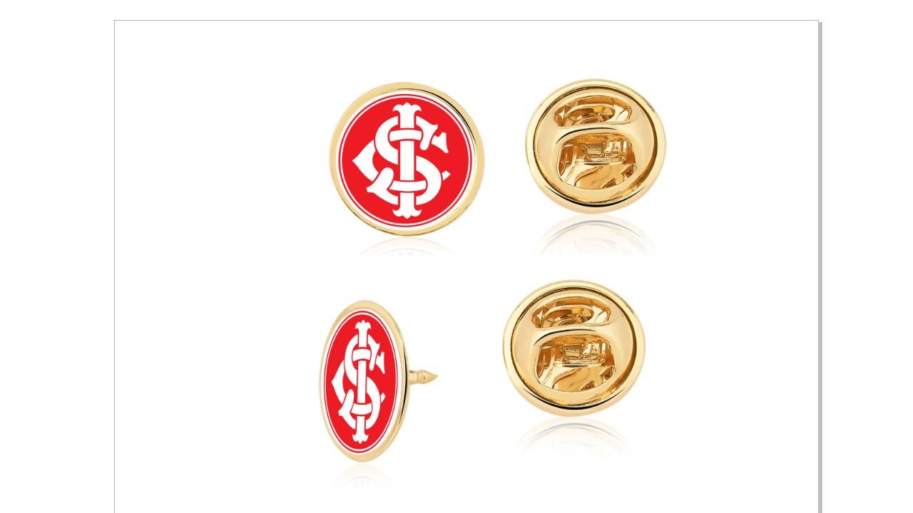 Pin 1 cm Consulado Internacional  Pacote Com 10 Unid. Folheado Ouro 18K