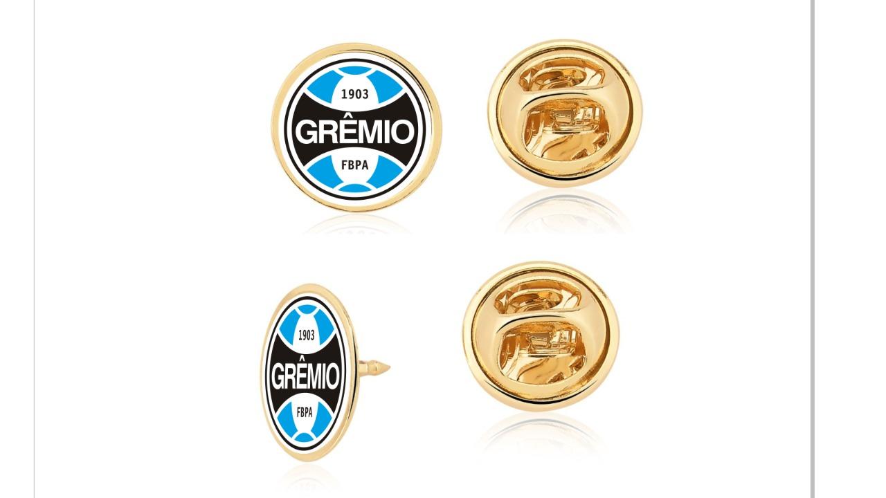 Pin  2 cm Grêmio Pacote Com 10 Unid. Folheado Ouro 18K