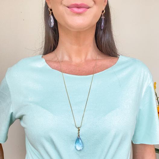 Pingente Cristal Azul Folheado Ouro 18K
