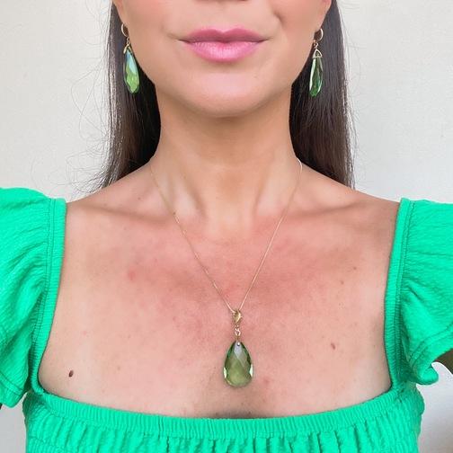 Pingente Cristal Verde Folheado Ouro18K