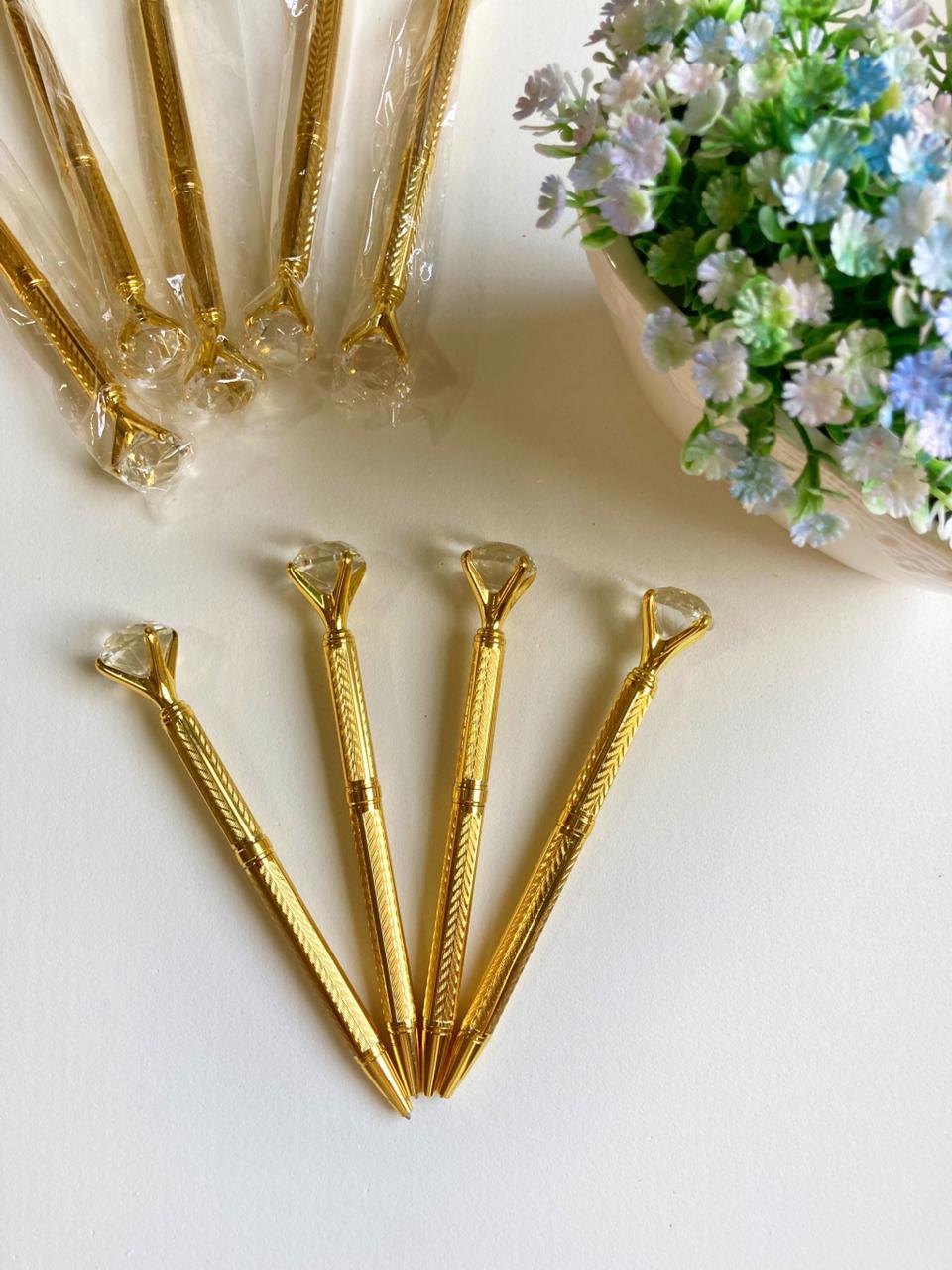 Caneta Diamante Luxo Dourada