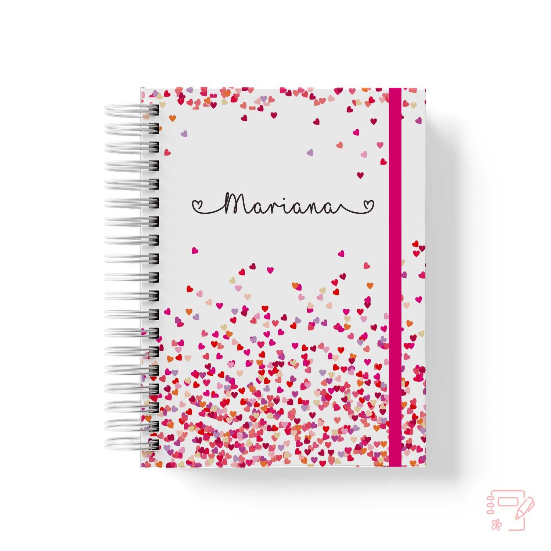 Caderno personalizado corações