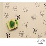 Carimbo Cubo 4 em 1 animais (panda, macaco, pinguim e cachorro)