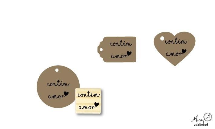 Carimbo Contém amor para tag