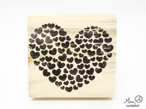 Carimbo Coração com corações