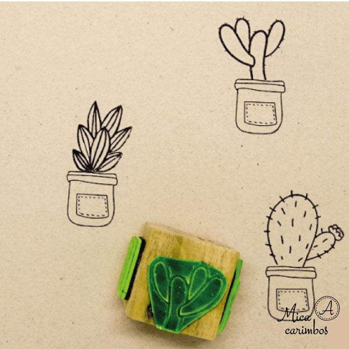 Carimbo Cubo plantas (vaso fofo orelha de coelho)
