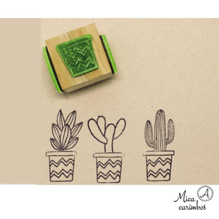 Carimbo Cubo plantas (vaso zig-zag candelabro)