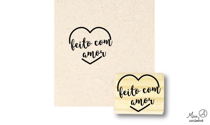 Carimbo Feito com amor coração