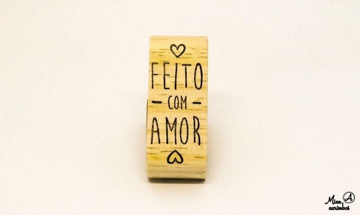 Carimbo Feito com amor dois corações