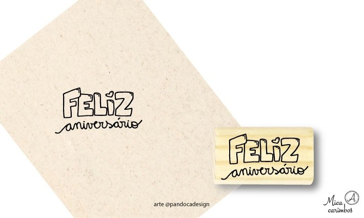 Carimbo Feliz Aniversário - Pandoca