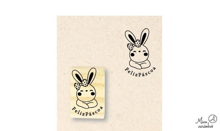 Carimbo Feliz Páscoa coelha