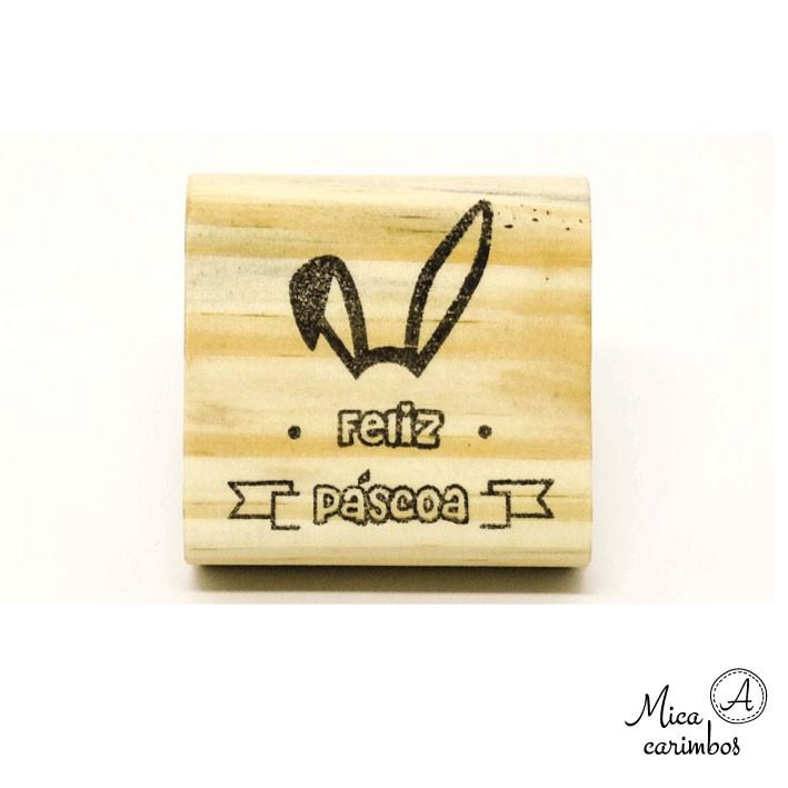 Carimbo Feliz Páscoa orelha de coelho