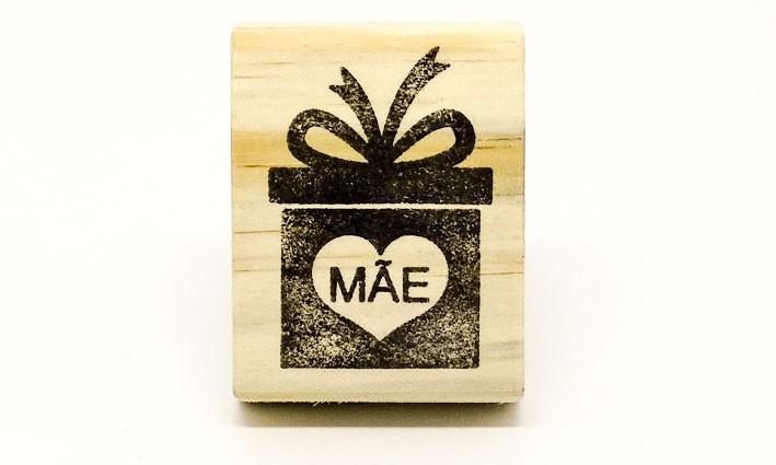 Carimbo Mãe caixa presente