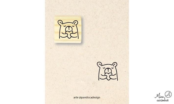 Carimbo Urso coração - Pandoca
