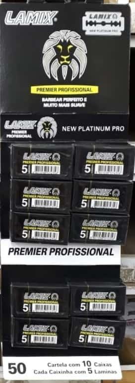 LÂMINAS DE BARBEAR LAMIX NEWS PLATINIUM PREMIER PROFISSIONAL -50 CARTELAS - ATACADO