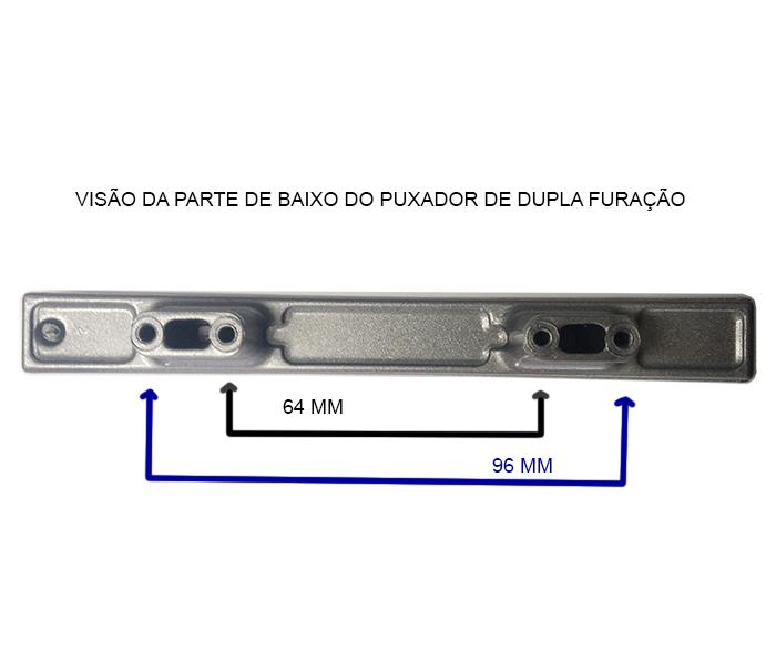 Puxador para Móveis Modelo 5493 Alumínio - Dupla Furação   - Fersan Ferramentas