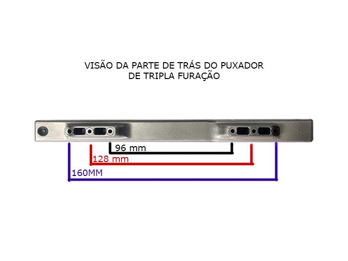 Puxador para Móveis Modelo 5494 Cromado - Tripla Furação   - Fersan Ferramentas
