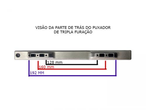 Puxador para Móveis Modelo 5495 Cromado - Tripla Furação