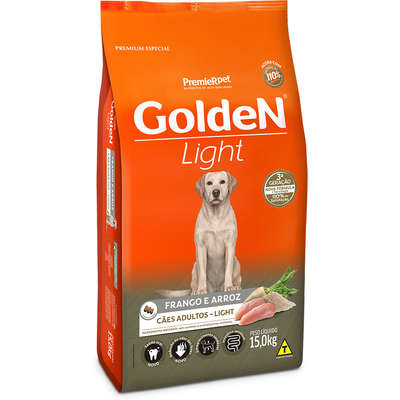 RACAO GOLDEN LIGHT FRANGO E ARROZ PARA CÃES ADULTOS 15 KG