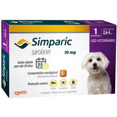 SIMPARIC ANTIPULGAS PARA CÃES DE 2,6 A 5 KG - 10 MG - COMPRIMIDO AVULSO