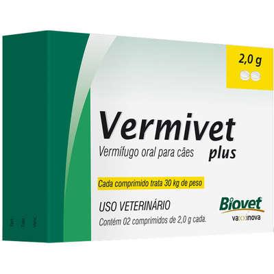 VERMIVET PLUS 2,0 G - 30 KG VERMÍFUGO PARA CÃES - 2 COMPRIMIDOS