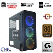 Computador NTC Gamer - AMD Ryzen 5 3400G, 8GB, SSD 240GB, 500W, Gigabyte A320M-S2H, VULCANO II - 7156