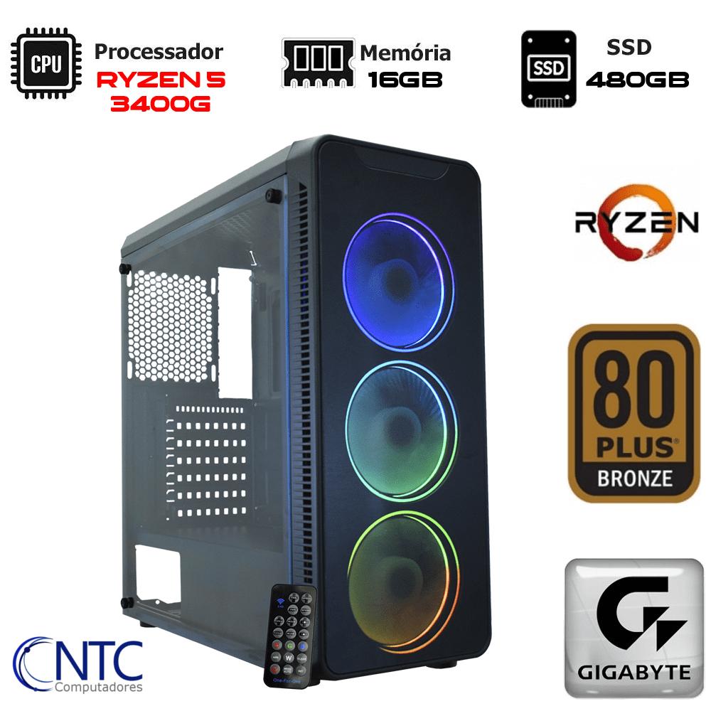 Computador NTC Gamer - AMD Ryzen 5 3400G, 16GB, SSD 480GB,  500W, Gigabyte A320M-S2H, VULCANO II - 7158