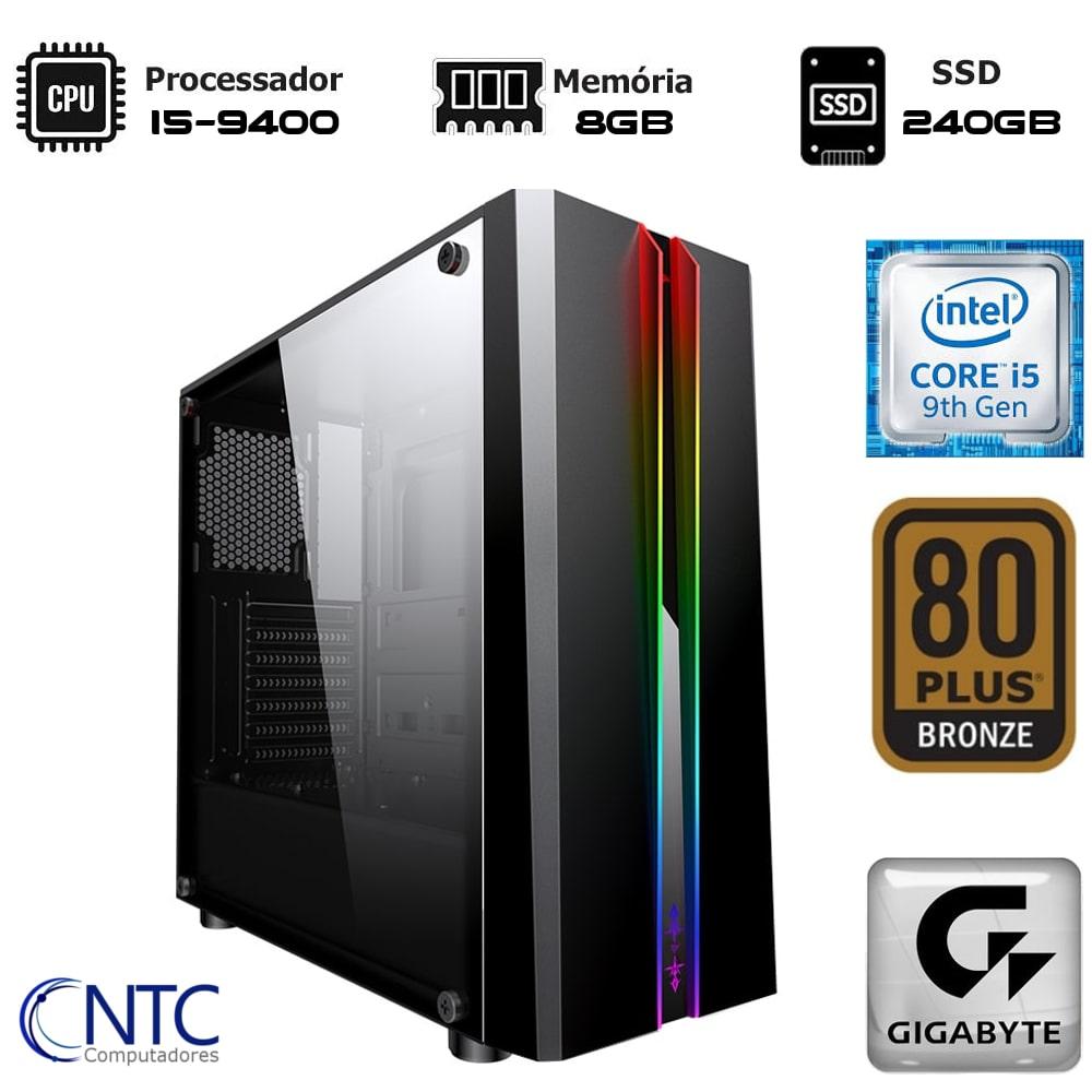 Computador NTC Gamer - Intel Core i5-9400, 8GB, SSD 240GB, 500W, Gigabyte H310M, VULCANO II - 7151