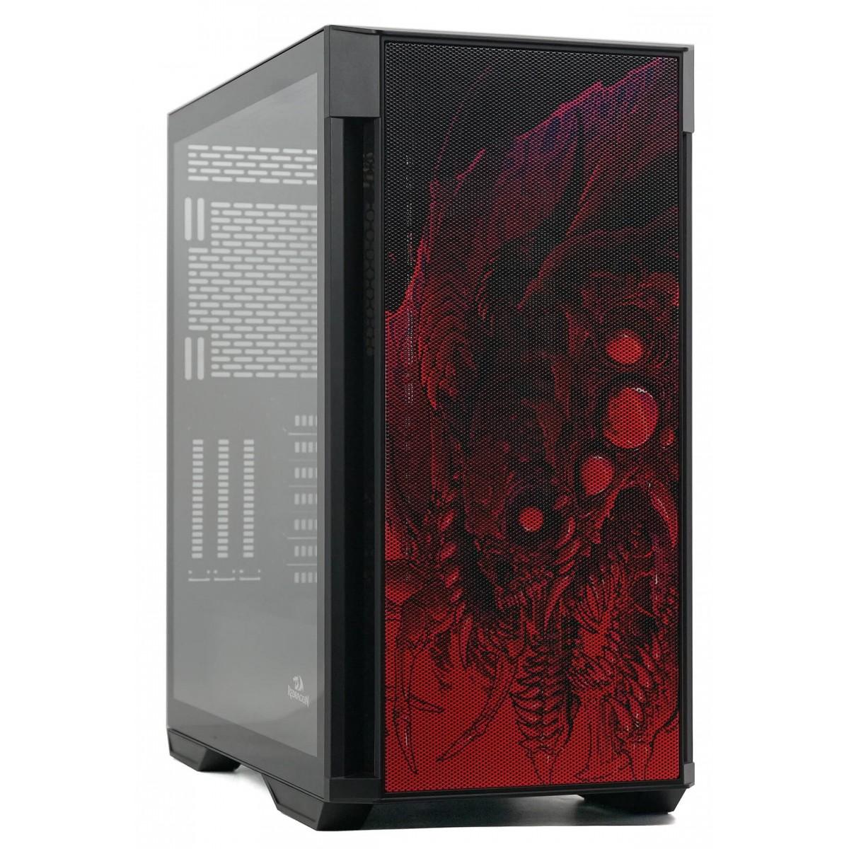 Gabinete Gamer Redragon Strafe Infernal Dragon, Mid Tower, Vidro Temperado, Black, ATX, Sem Fonte, Sem Fan, GC-706IF