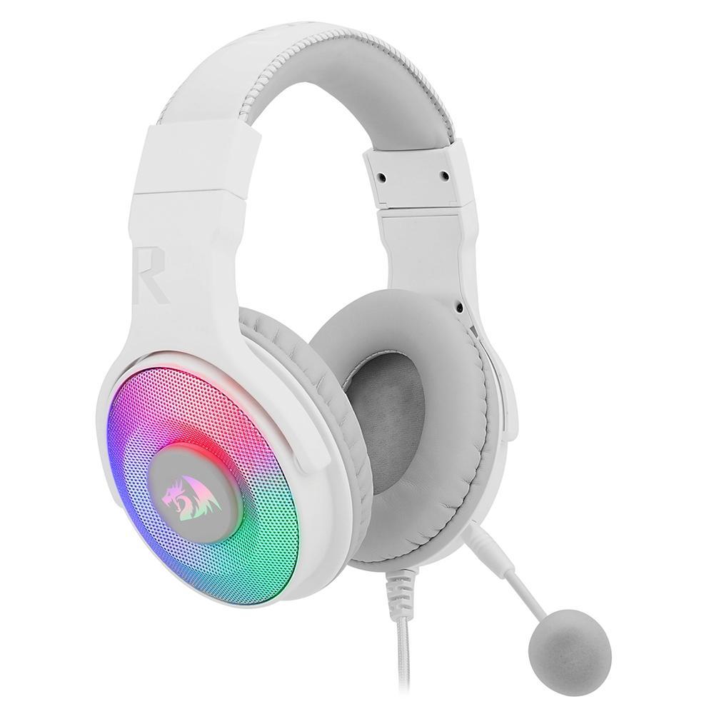 Headset Gamer Redragon Pandora 2 RGB, Driver 50mm, com Microfone Removível, Branco - H350W-RGB-1