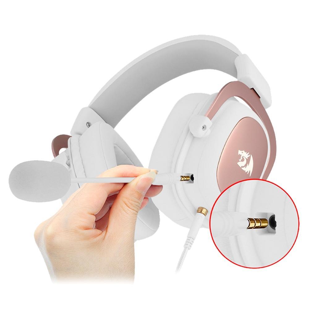 Headset Gamer Redragon Zeus-Sakura Edition, USB ou Entrada de Áudio de 3.5mm, 7.1 Surround, Branco e Rose Gold - H510W