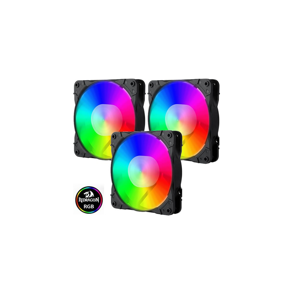 Kit Fan com 3 Unidades Redragon, RGB, 120mm, Com Controladora, GC-F007