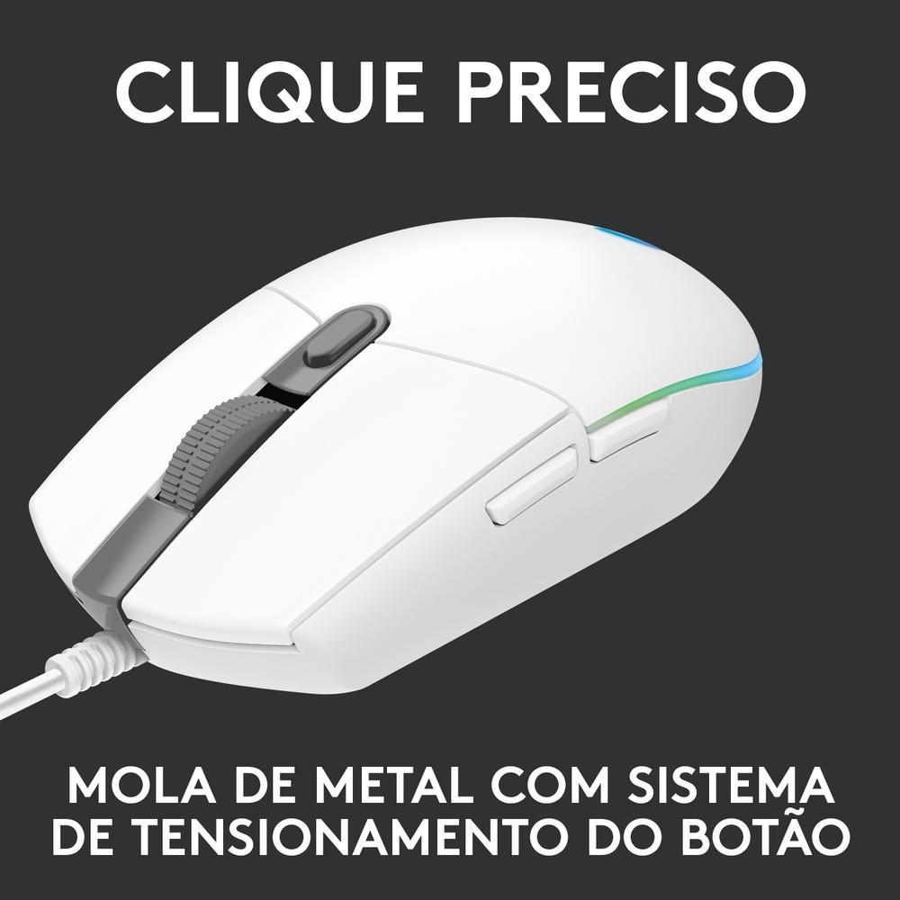 Mouse Gamer Logitech G203, RGB Lightsync, 6 Botões, 8000 DPI, Branco - 910-005794