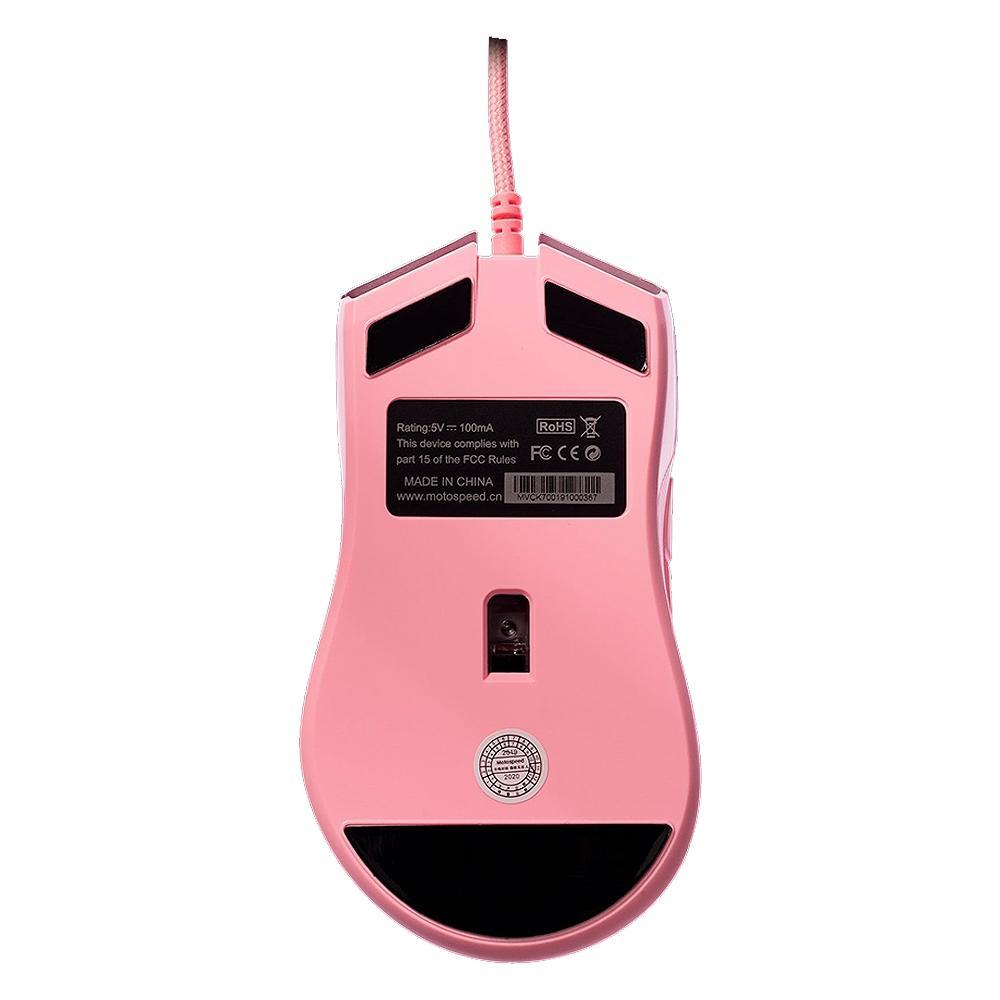 Mouse Gamer Motospeed V70 Essential, RGB, 7 Botões, 5000DPI, Rosa - FMSMS0085RSA