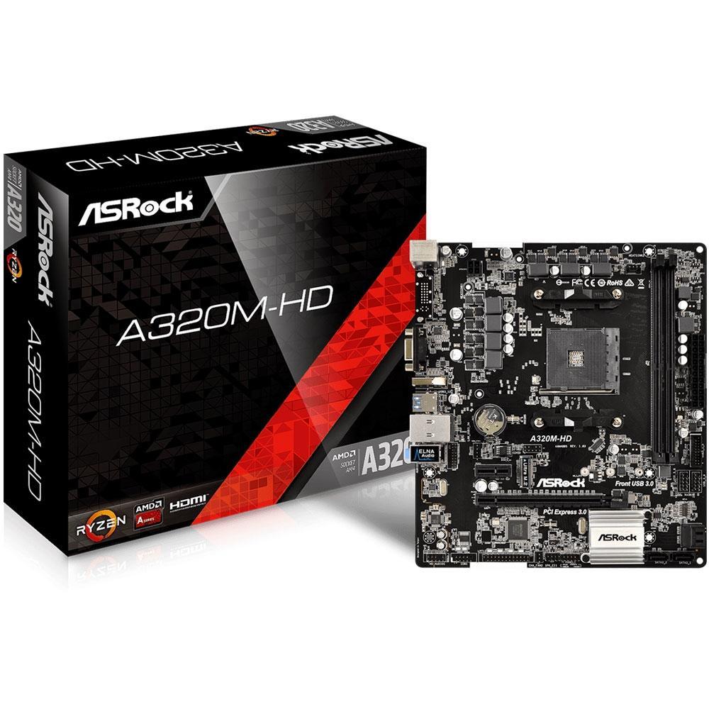 Placa Mãe AsRock A320M-HD (AM4/DDR4/D-Sub/ HDMI/M.2/USB 3.1)