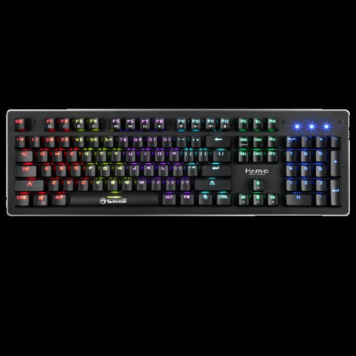 Teclado Mecânico Gamer Marvo Scorpion KG909, USB 2.0, Switch Azul, LED Rainbow