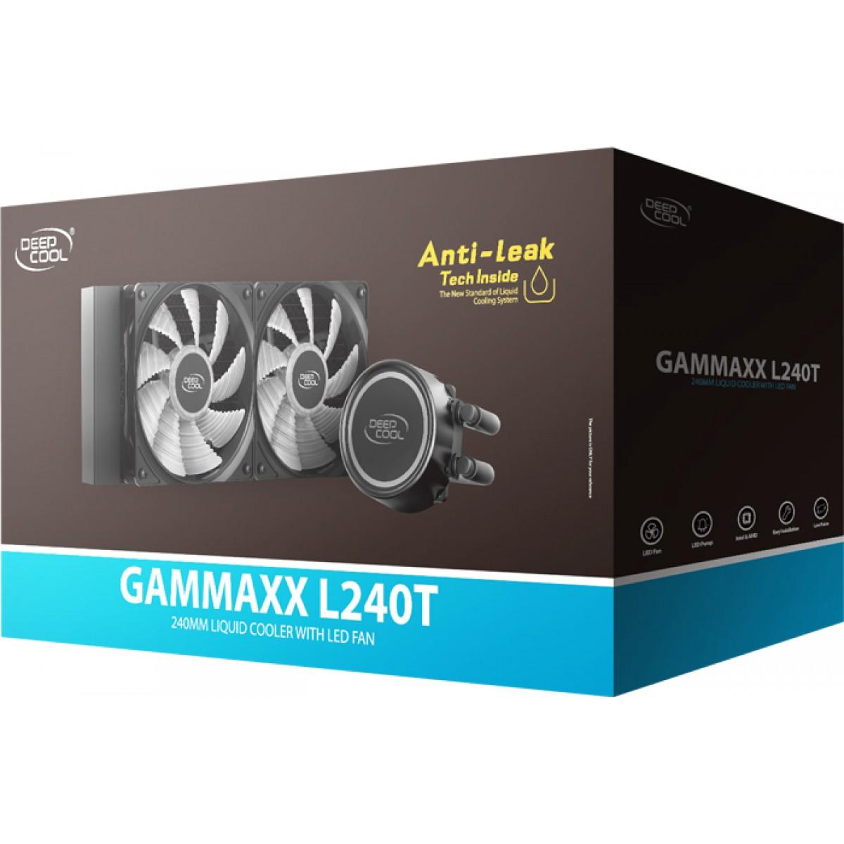 Water Cooler DeepCool Gammaxx Anti-Leak L240T, Led Vermelho, DP-H12RF-GL240TR