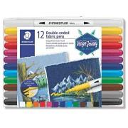 STAEDTLER 3190 TB12 canetas para tecido de ponta dupla 12 cores sortidas