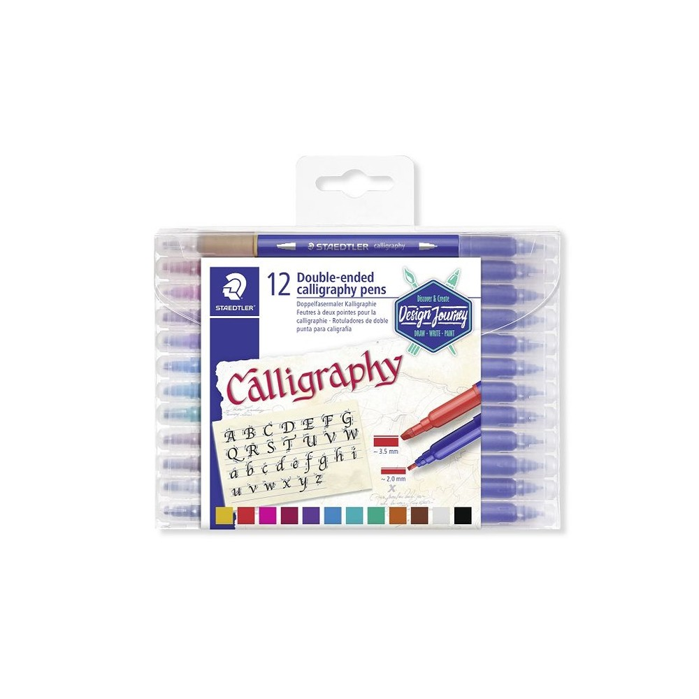 Caneta Caligrafia Staedtler Double-ended Duo 3.5 Mm - 2.0 Mm 012 Cores 3005 Tb12