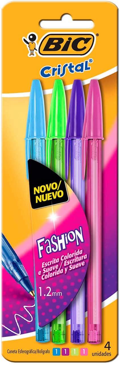 Caneta Esferográfica 1.2mm, BIC, Fashion Vivas, 902473, 4 Unidades