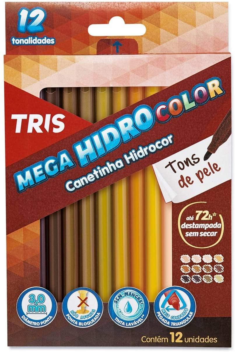 Tris Caneta Hidrográfica Mega Hidrocolor 12 Cores 683690