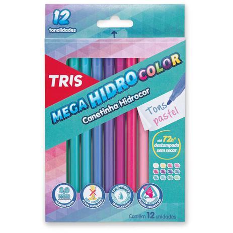 Tris Caneta Mega Hidrocolor Tris 12 Cores Tons Pastel