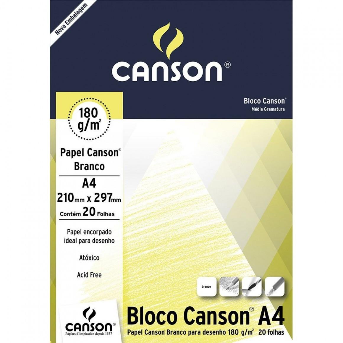 CANSON BLOCO DESENHO A4 180G 20 FOLHAS BRANCO