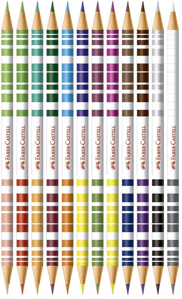 Faber-Castell, Lápis de Cor, EcoLápis Bicolor, 120612+2N, 12 Lápis/24 Cores + 2 Lápis N°2